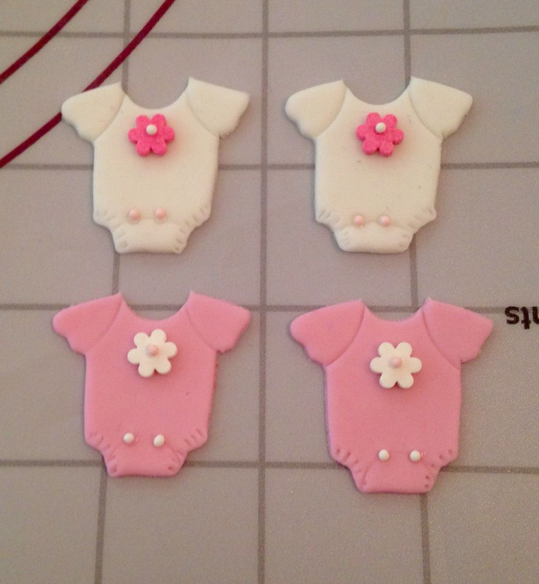 Baby Shower onesie Cupcake Fondant Toppers""