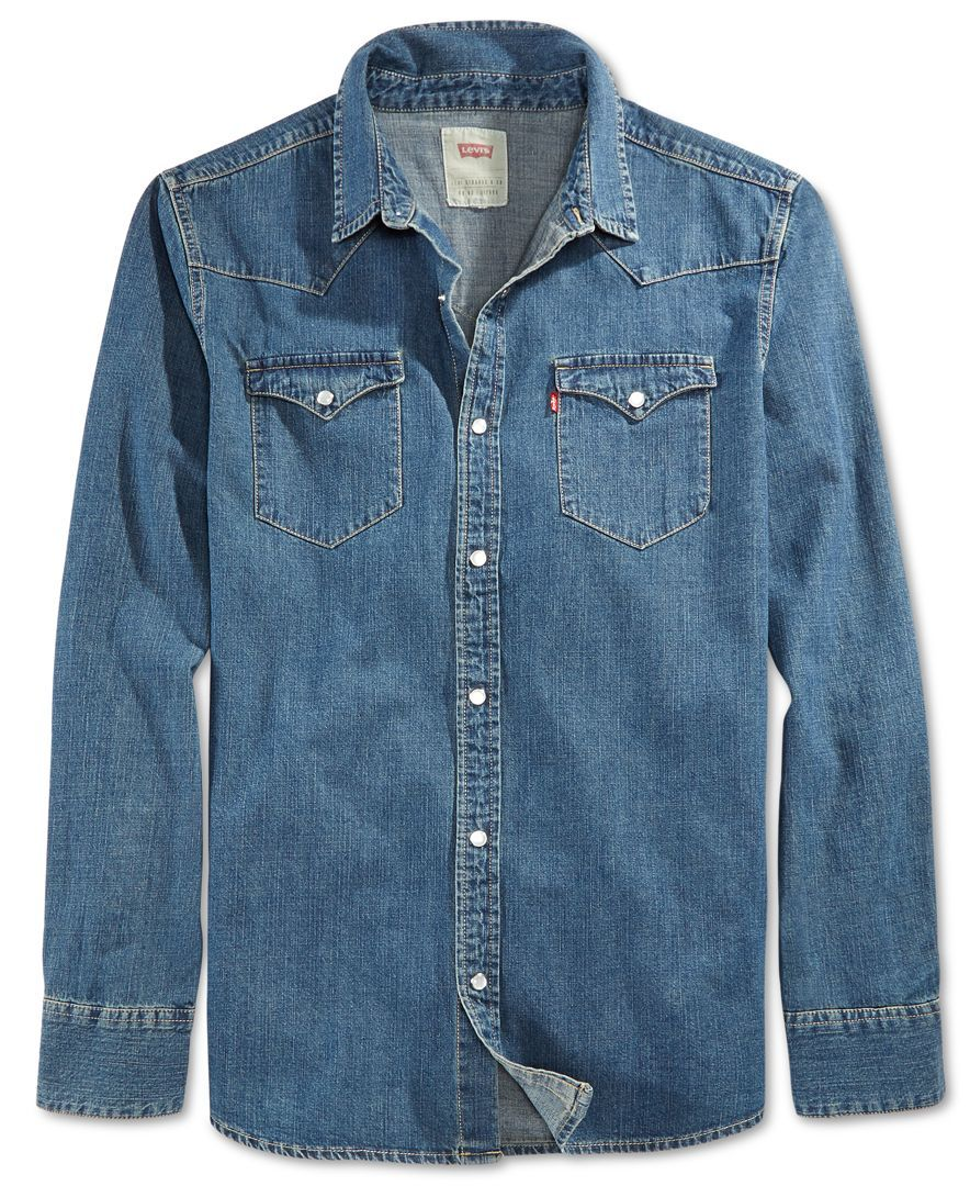 Levi S Men S Standard Barstow Western Long Sleeve Denim Shirt Reviews Casual Button Down Shirts Men Macy S Mens Denim Shirt Outfit Denim Shirt Men Long Sleeve Denim Shirt