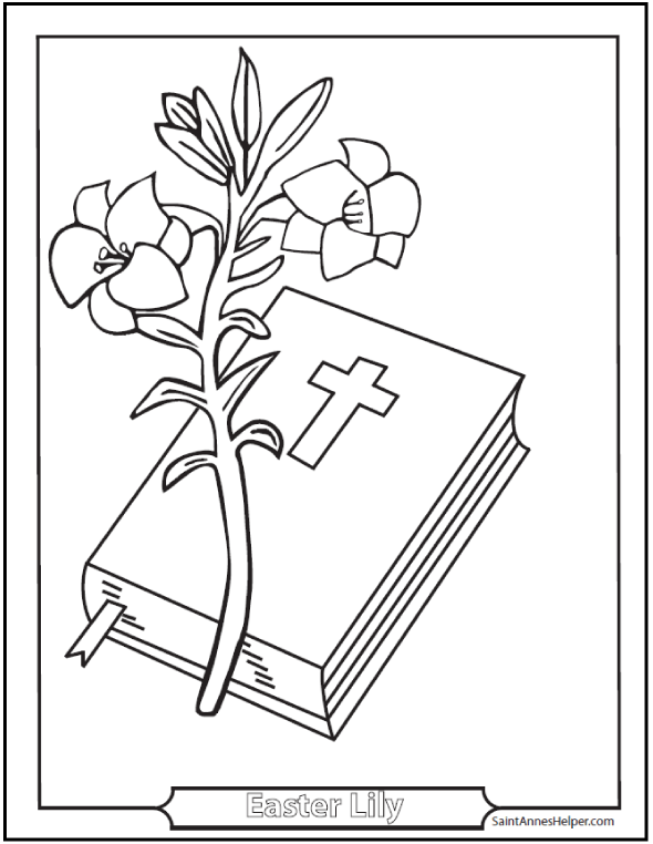 easter coloring pages printable lily and bible - Catholic Coloring Pages Printable