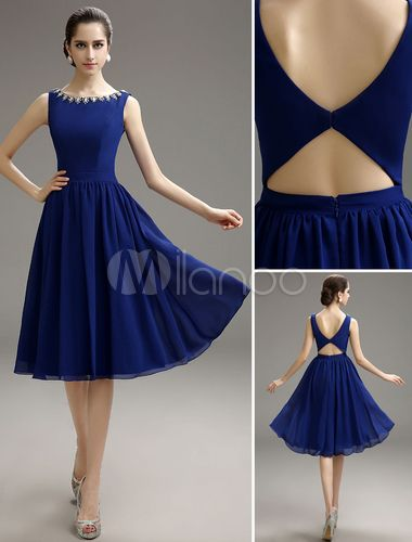 Blue Prom Dress 2019 Short Chiffon Beaded Cocktail Dress Royal Blue ... 410ab078cf0a