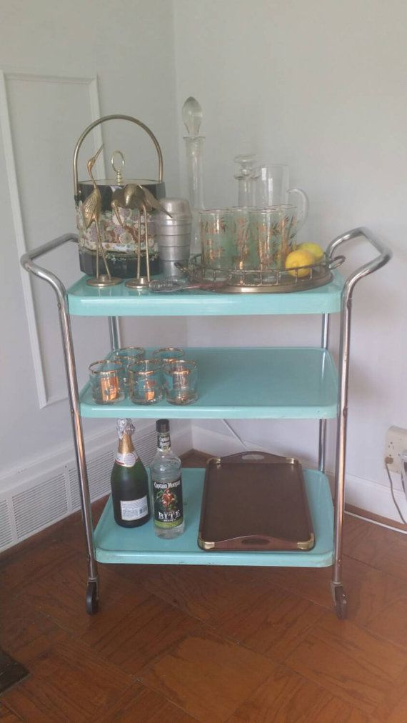 Vintage Bar Cart Turquoise Metal By Midcenturymad