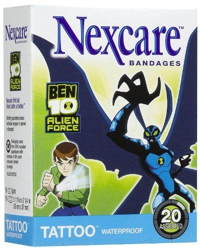Nexcare Tattoo Waterproof Bandages Ben 10 By Nexcare 7 99
