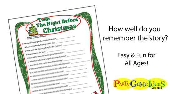 Twas the Night Before Christmas game This printable Chrismtas