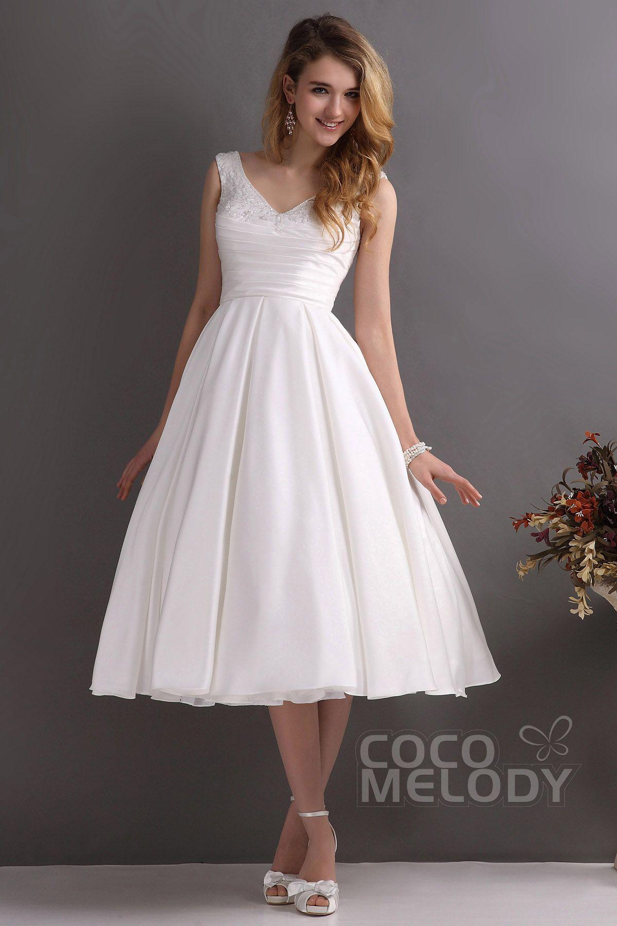 [ USD 349 ] ALine VNeck Tea Length Satin Wedding Dress