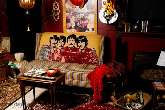 Super cool beatles couch in an awesome rock  roll music room filled with paraphernalia also  home decor living rh pinterest