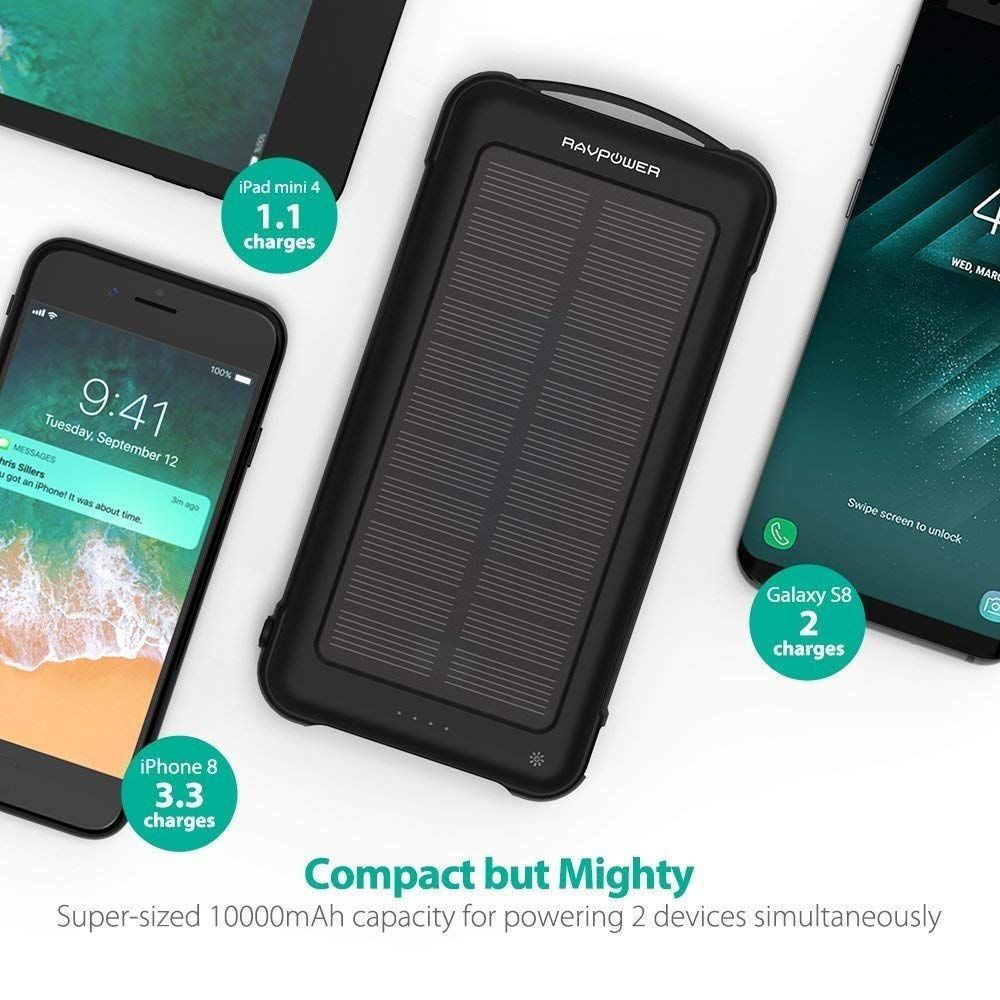 Solar Charger Rav 10000mah Outdoor Battery Pack With Ismart 2 0 And Dual Input Outlet Shockproof Bank Led Flashlight For