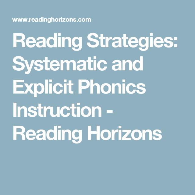 Reading Strategies Systematic And Explicit Phonics Instruction