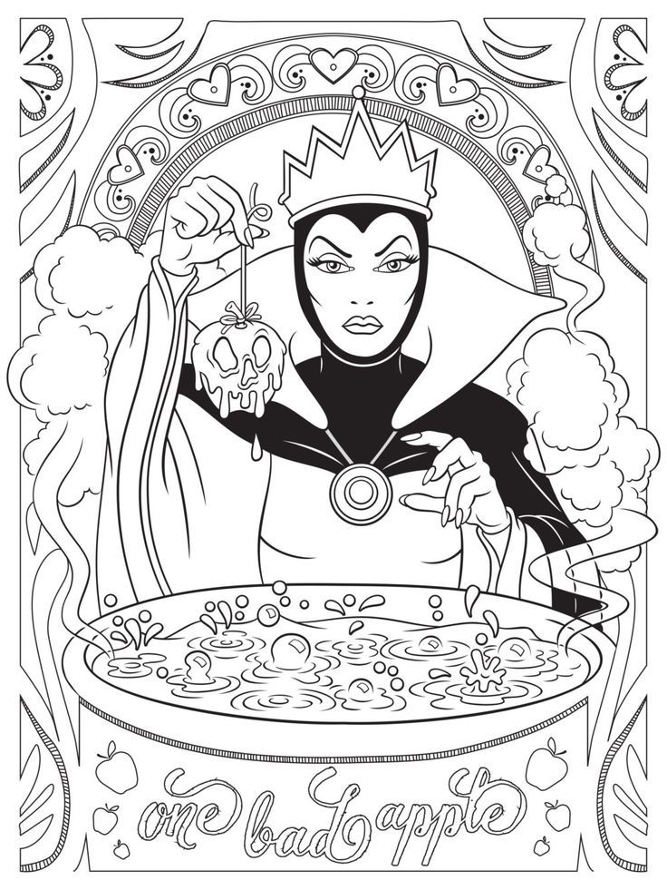 Disney Style Evil Queen Coloring Book Page