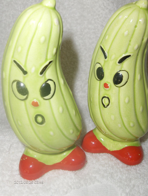 Vintage Cartoon Cucumber Salt & Pepper Shakers. $17.95 USD, via Etsy.