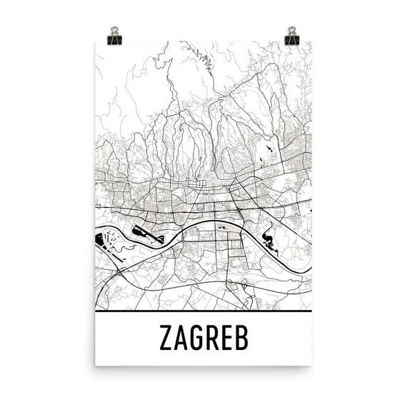 Zagreb Map Zagreb Art Zagreb Print Zagreb Croatia Poster Etsy Map Art City Map Art London Map