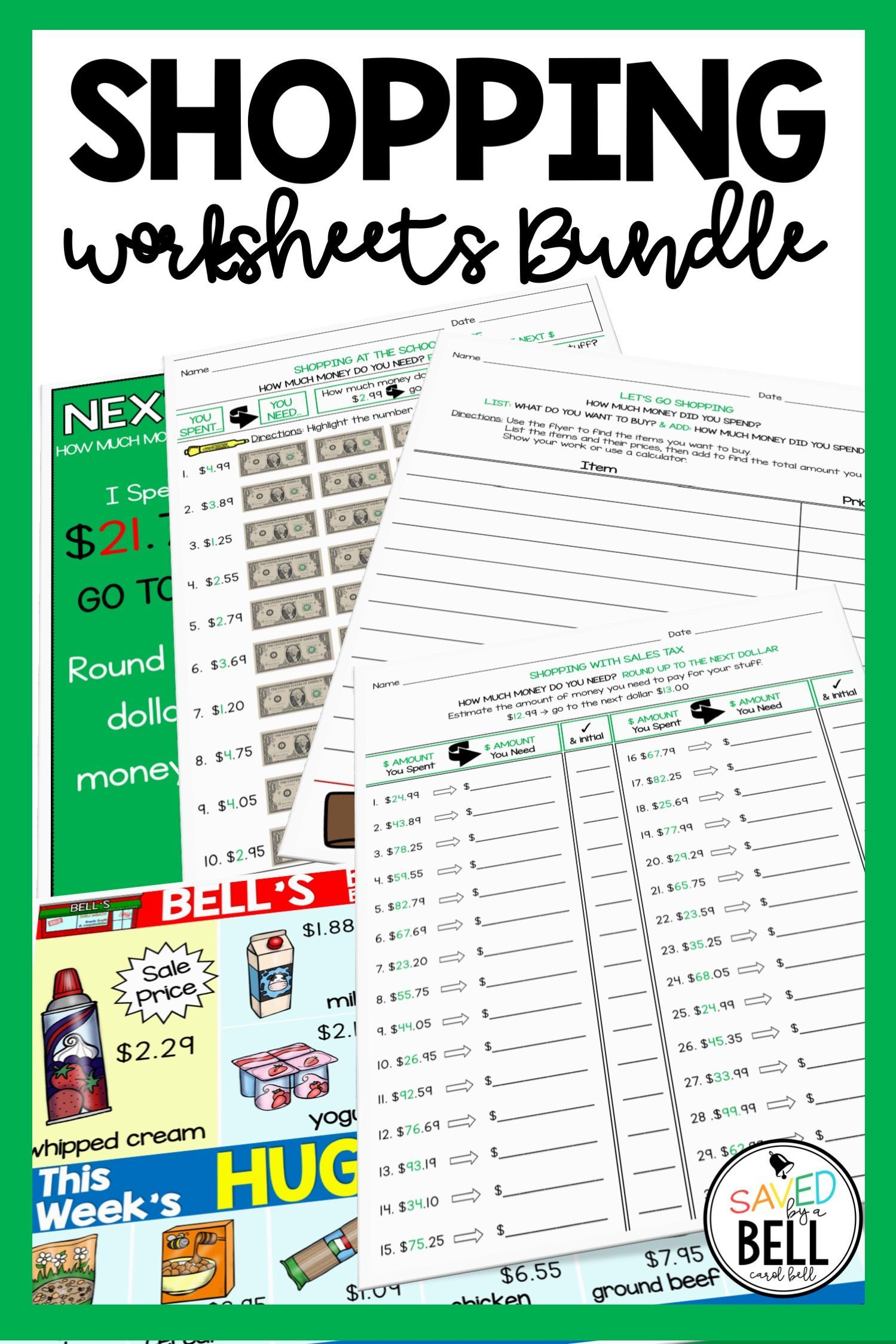 Shopping Worksheets Bundle Addition Subtraction And Next