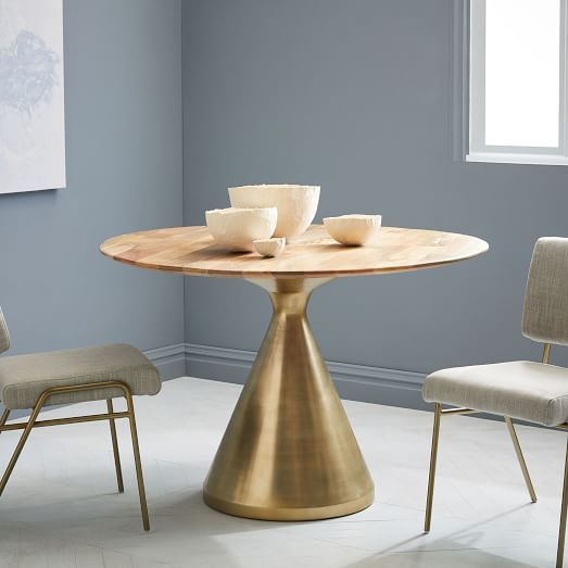 Silhouette Pedestal Dining Table   Raw Mango | West Elm
