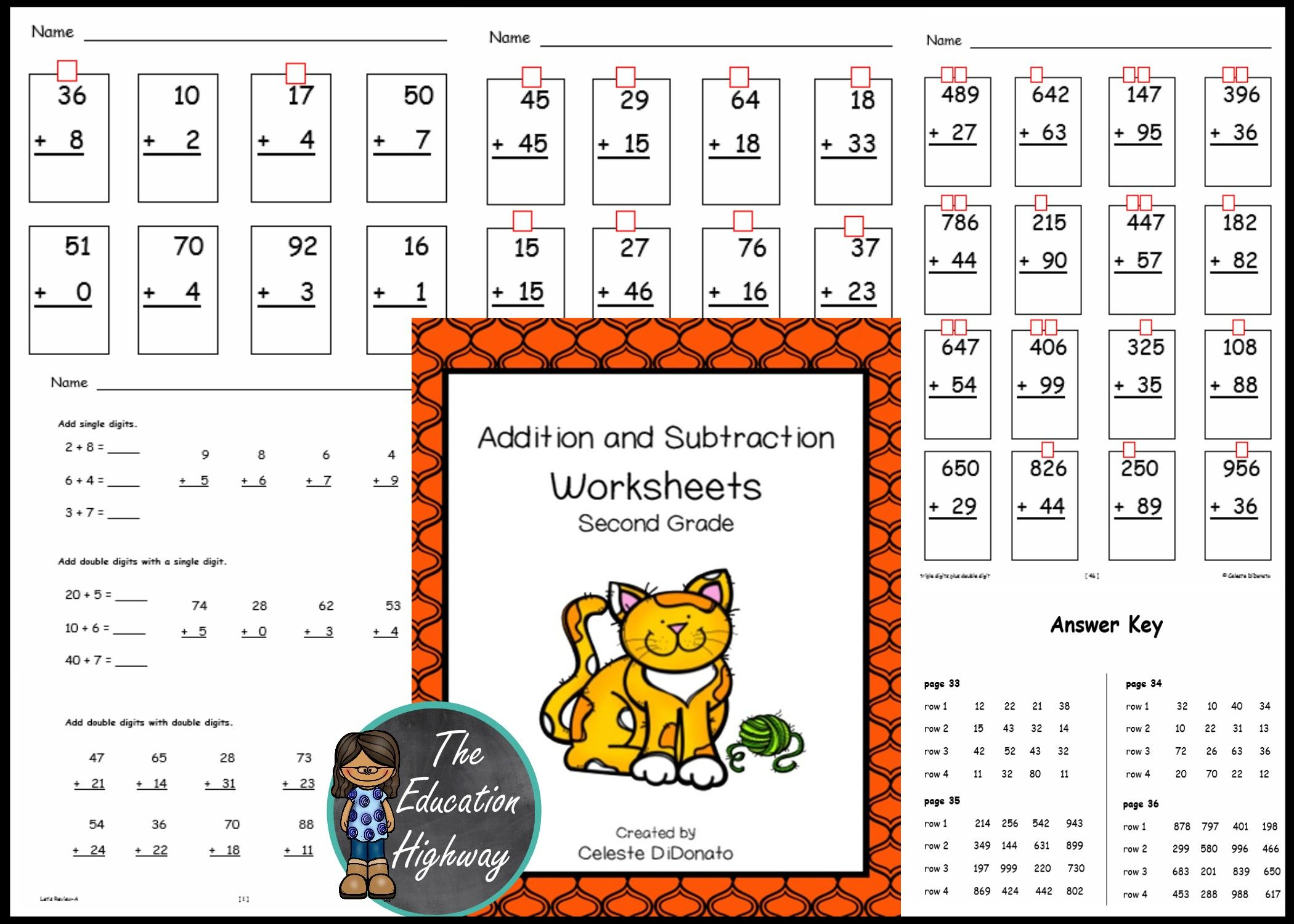Addition And Subtraction Practice For Second Graders Use