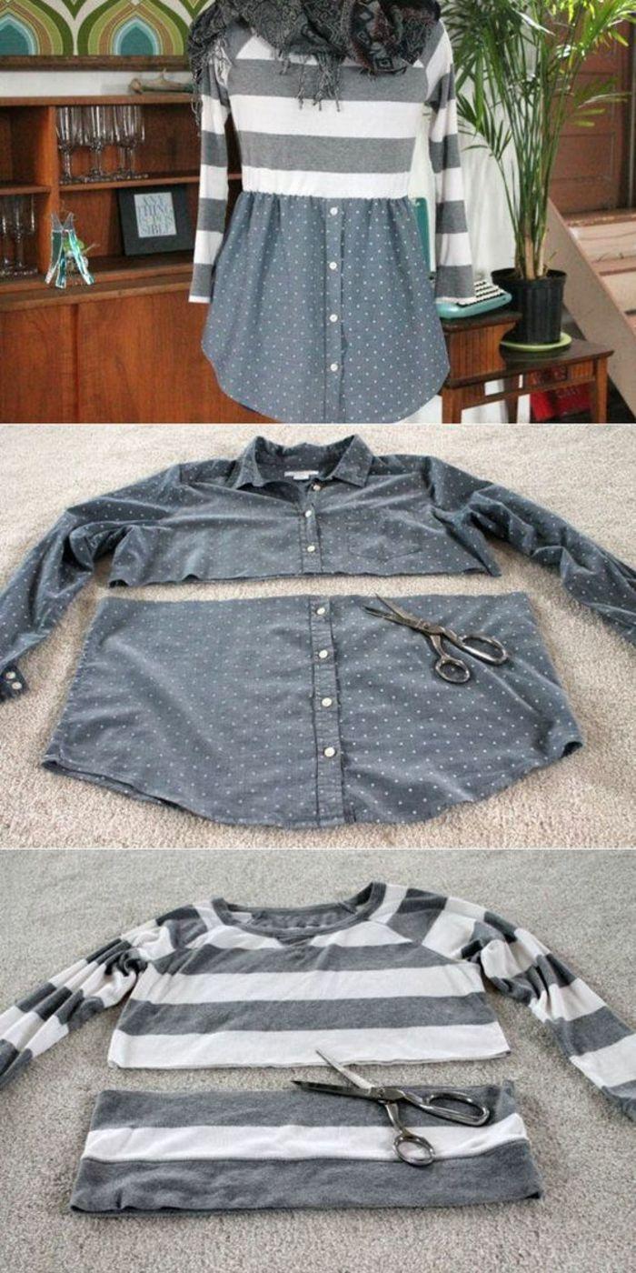 Photo of Upcycling-Kleider, graues Hemd und gestreifte Bluse – Strickhäkelideen – UPCYCLING-IDEEN