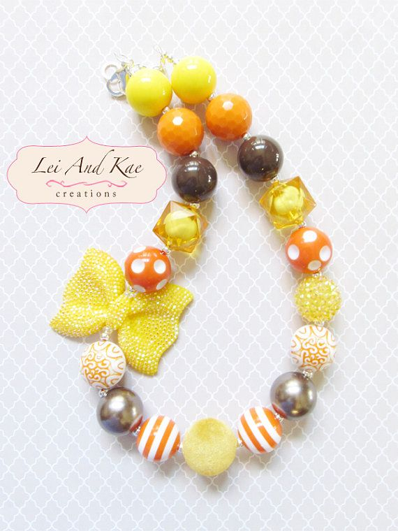 Fall Thanksgiving Earth Tone Yellow Chunky Bead Necklace - Photo Prop Fashion Accessory