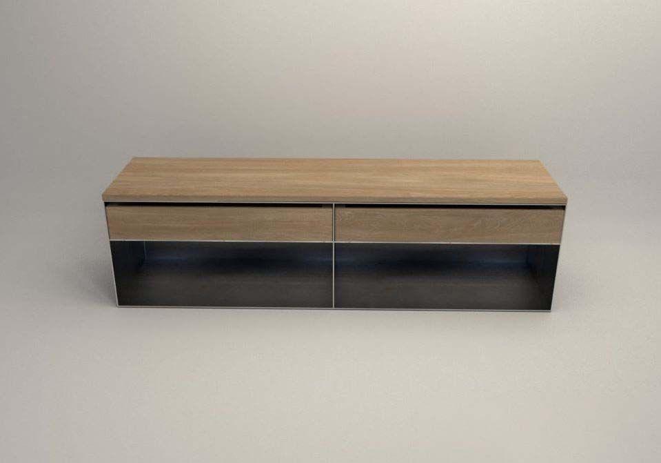 Design Stahlmoebel Kaminholz Sideboard Multifunctional