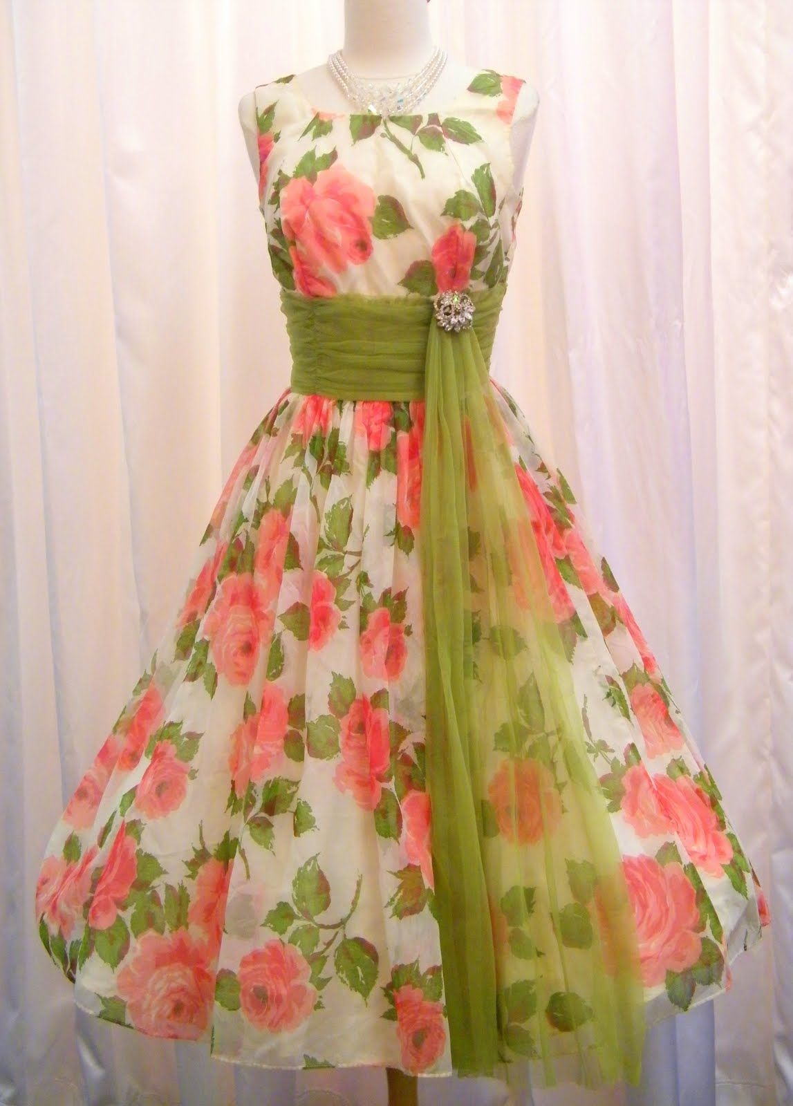 Pink & Green floral chiffon prom dress with sash. Love the colors ...