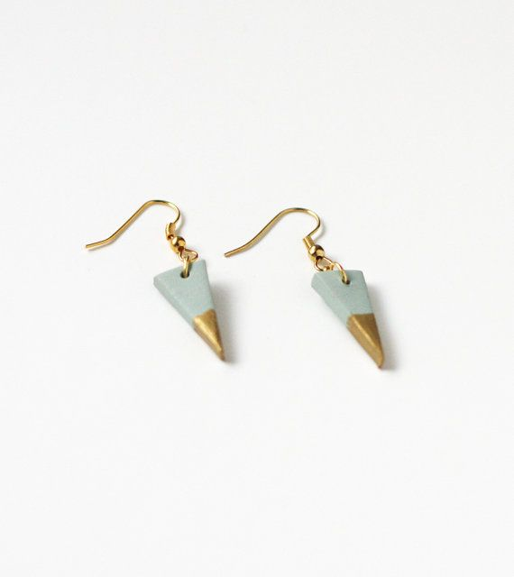 Triangle Gold Dipped Earrings Blue Ammjewelry Etsy