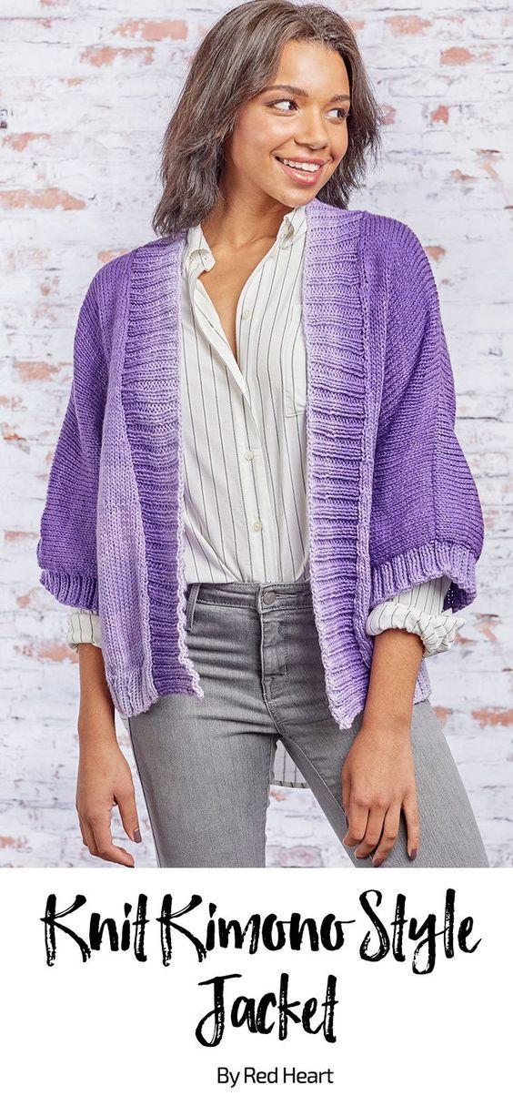 Knit Kimono Style Jacket free knit pattern in Super Saver ...