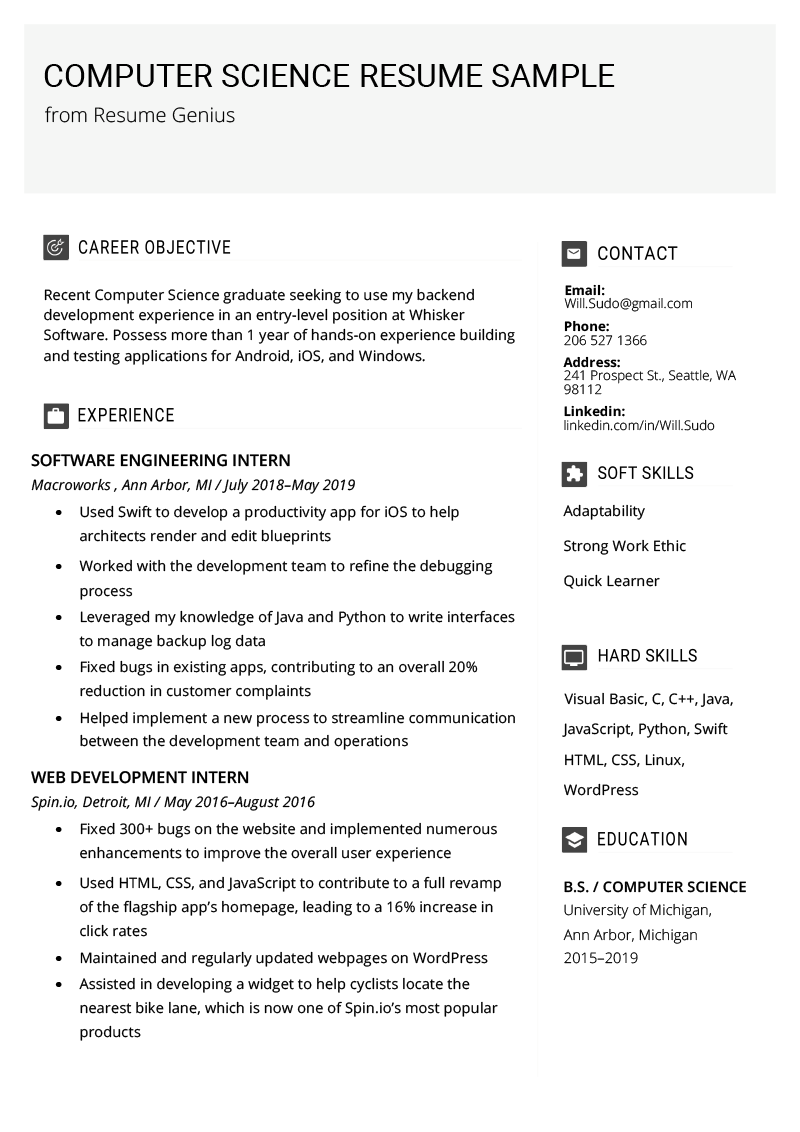 PROFESSIONAL COMPUTER SCIENCE RESUME EXAMPLE in 2020