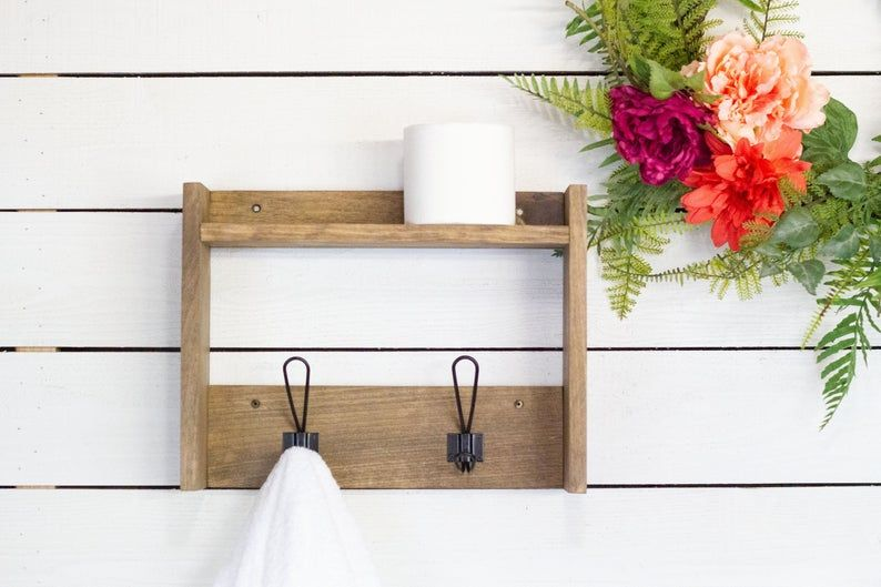 Bathroom Shelf With Farmhouse Robe Hooks Wall Mounted Shelf Etsy In 2020 Wall Mounted Shelves Bathroom Shelves Steampunk Shelves
