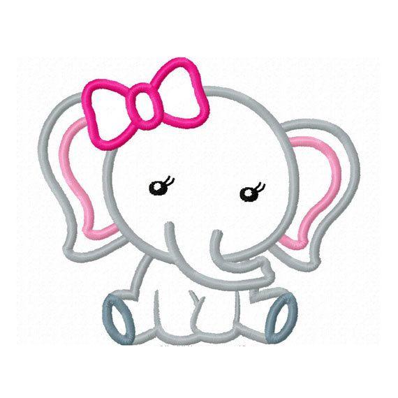 Girl Elephant Baby Applique Machine Embroidery Design NO:0156 ...