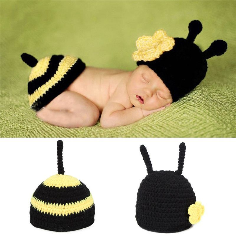 e2698dff761af Newborn Photography Props Baby Bee Clothes Caps Costume Crochet ...