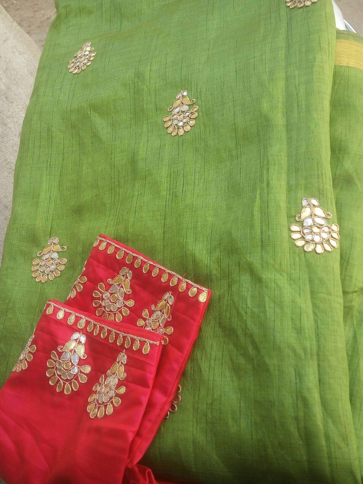 Saree blouse design patch work silk gota work saree  closet  pinterest  saree silk and blouse