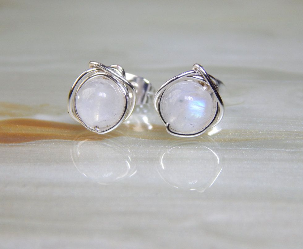 Rainbow Moonstone Stud Earrings Small Post Bridesmaids Gift Ideas By Deezignstudio On