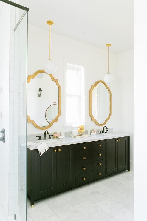 Black Bathroom Vanity With Gold Mirror, Contemporary, Bathroom, Sherwin  Williams Snowbound