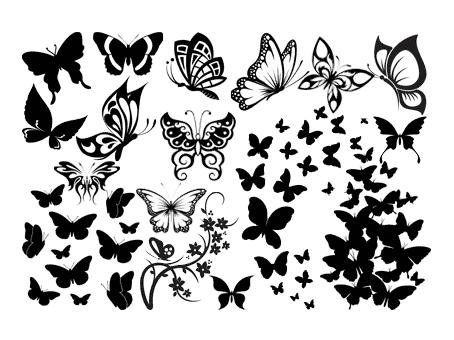 Fichiers gratuits pour silhouette cam o portrait 30 motifs de papillons silhouette - Silhouette papillon imprimer ...