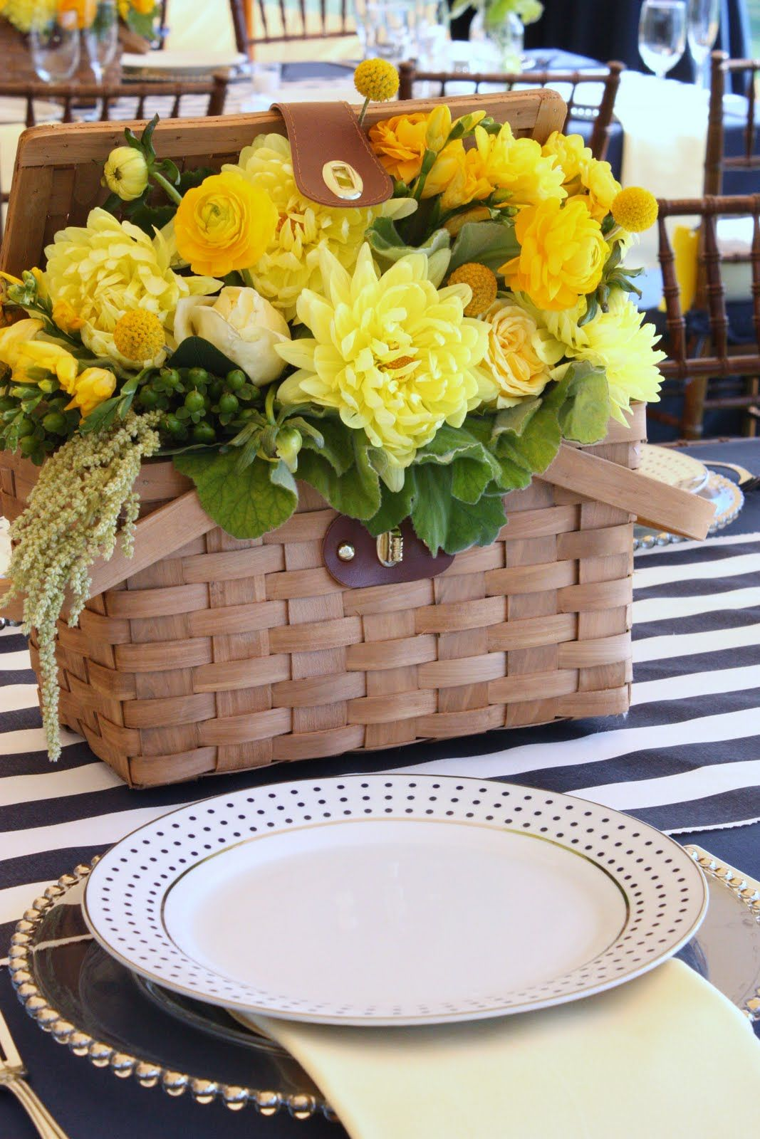 Picnic basket reception wedding flowers decor