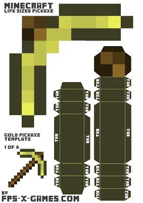 How To Create Your Own Minecraft Golden Pickaxe Fpsxgames Minecraft Diy Minecraft Paper Crafts