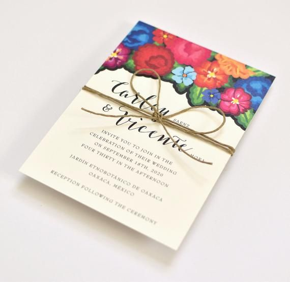 Floral Wedding Invitations – Colorful Oaxaca Embroidery Inspired – Modern – Hacienda Destination Wedding Invite (Carley Suite)