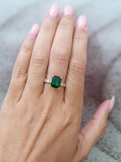 Statement emerald ring,small drop ring,gold ring,may birthstone,engagement ring,diamond ring,bridal gift SALE