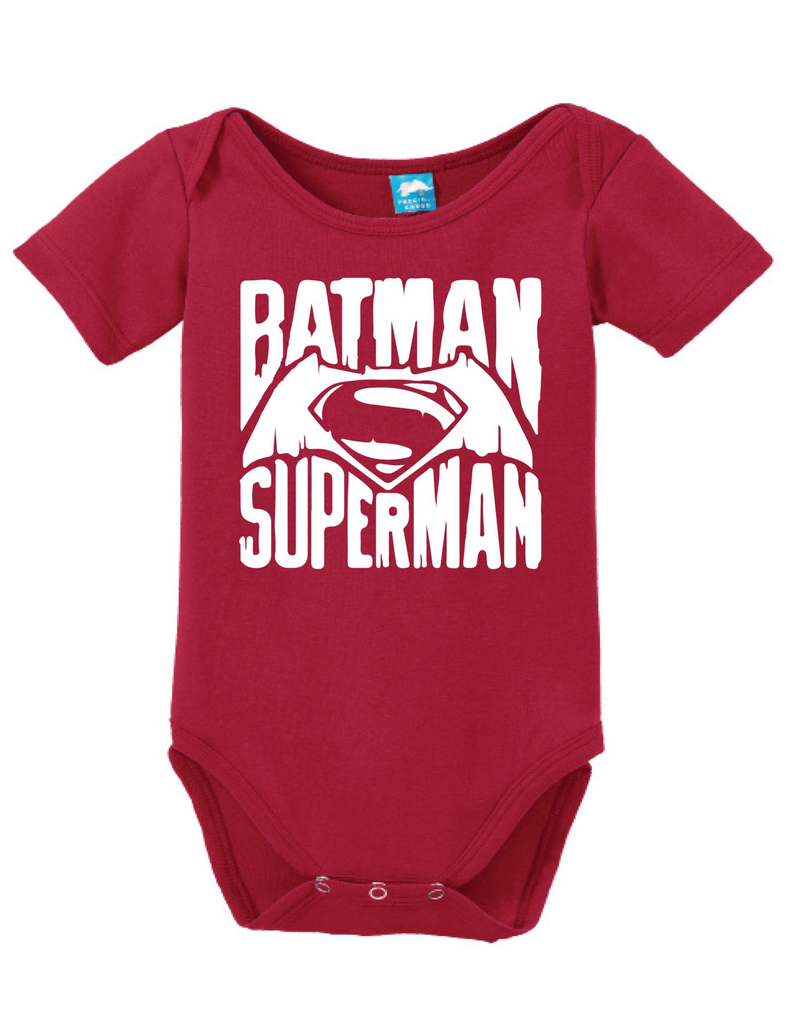 Distressed Batman Superman Onesie Funny Bodysuit Baby Romper