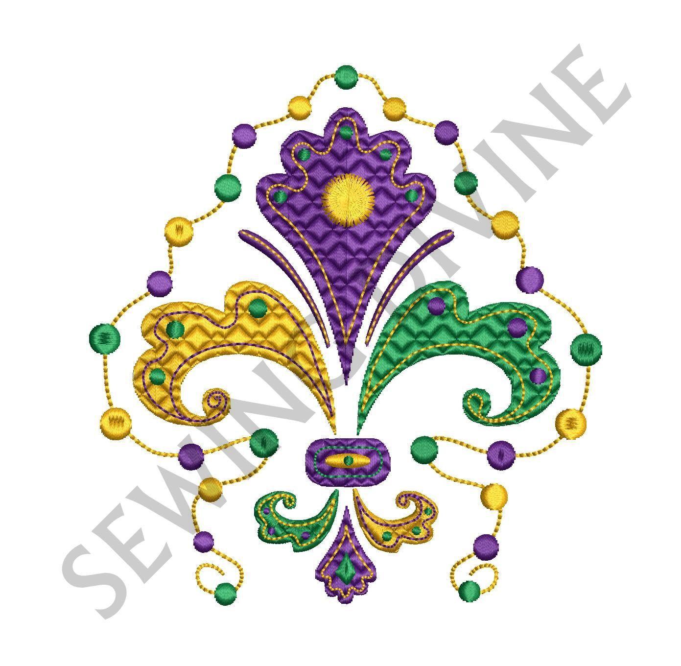 mardi gras fleur de lis beads embroidery design 3 sizes. Black Bedroom Furniture Sets. Home Design Ideas