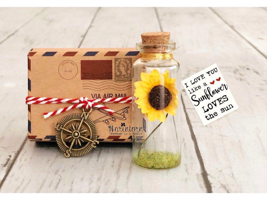 Romantic gift for boyfriend cute girlfriend gift sunflower