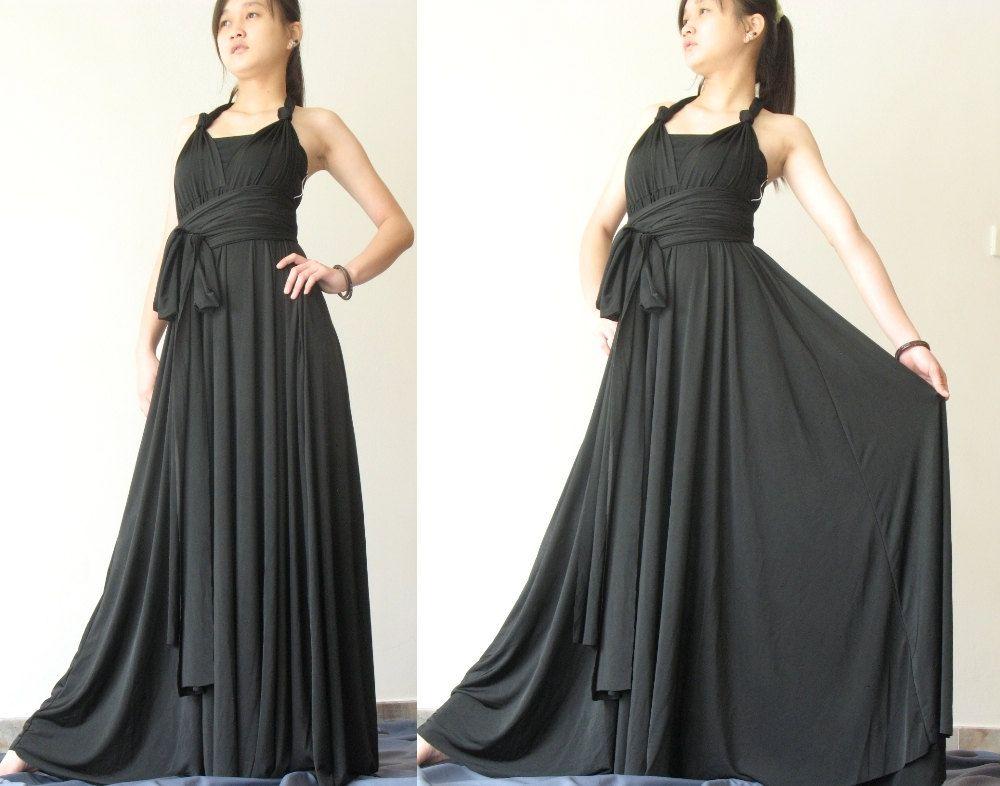 Convertible Wrap Dress Black Infinity Dress Long Maxi Dress/ Plus ...