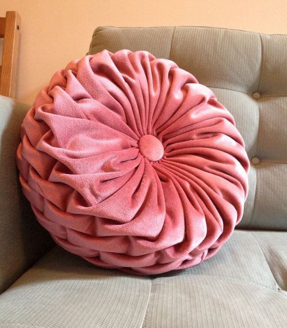 Throw Pillow Round : Ruched Rose Pink Velvet Round Ruched Throw Pillow by GeeThatsNice, $49.00 Wish List ...