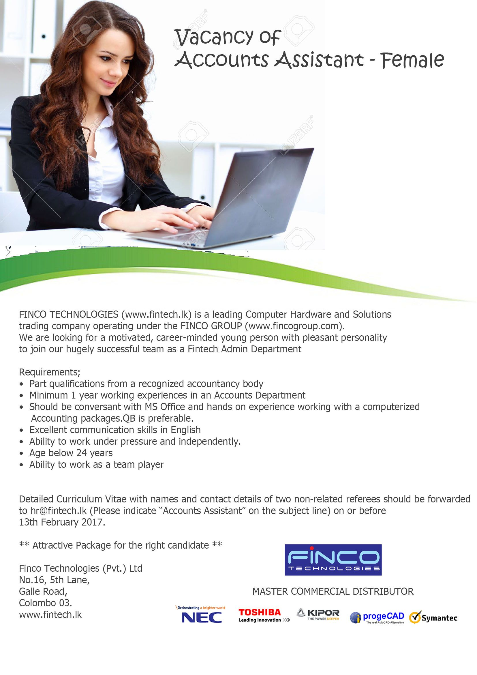 Accounts Assistant Female At Finco Technologies Pvt Ltd