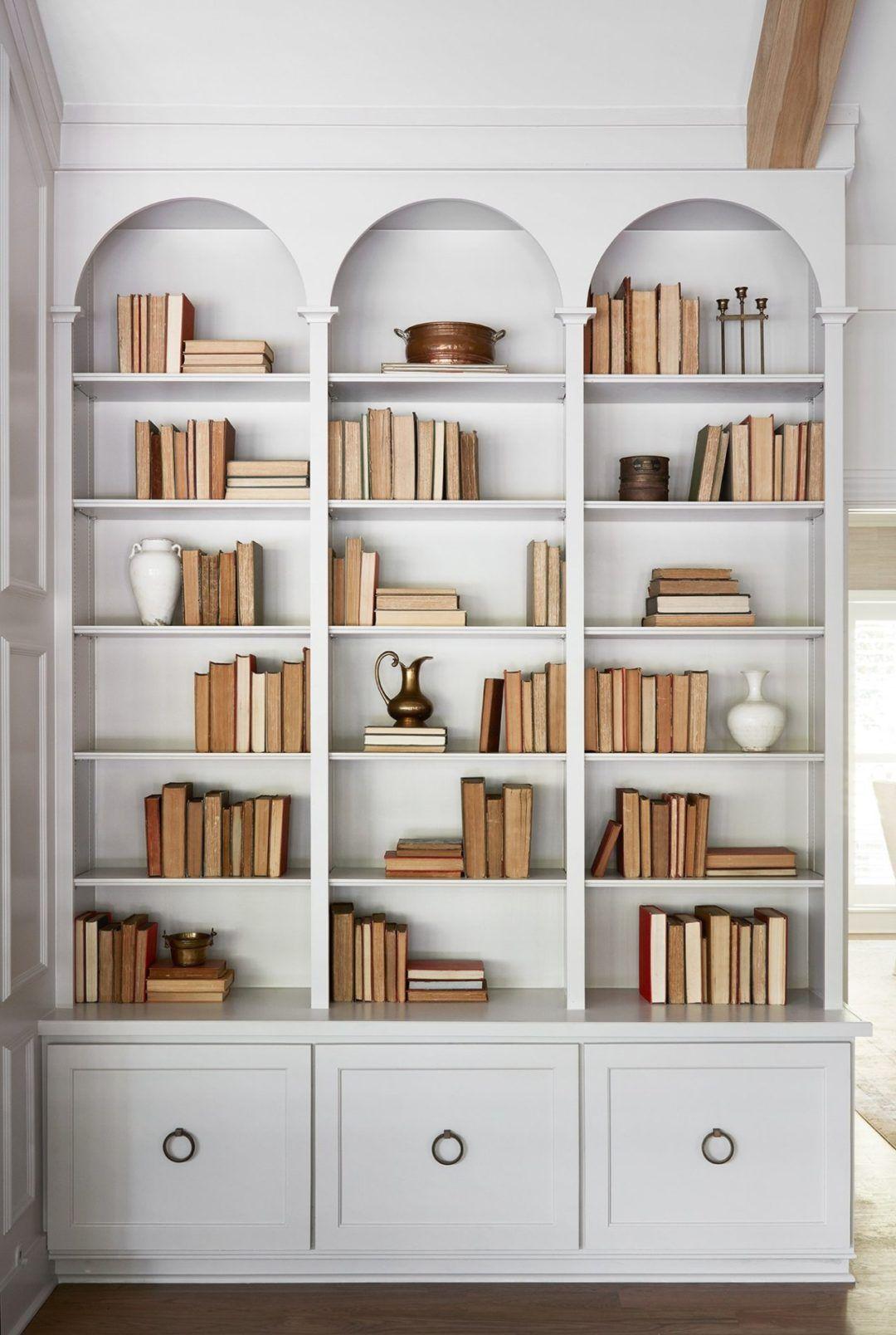 Inspiration Curved Millwork Lark Linen Bookshelves Built In