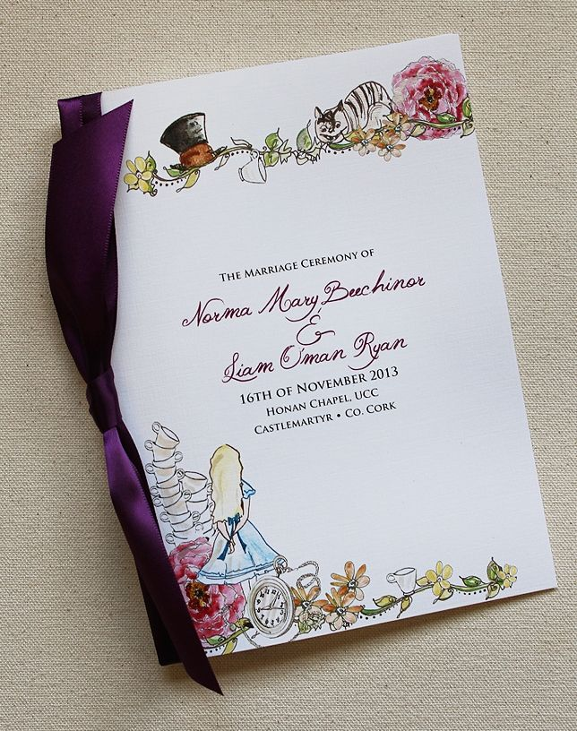 Beau Fuchsia And Orange Alice In Wonderland Wedding Invitation