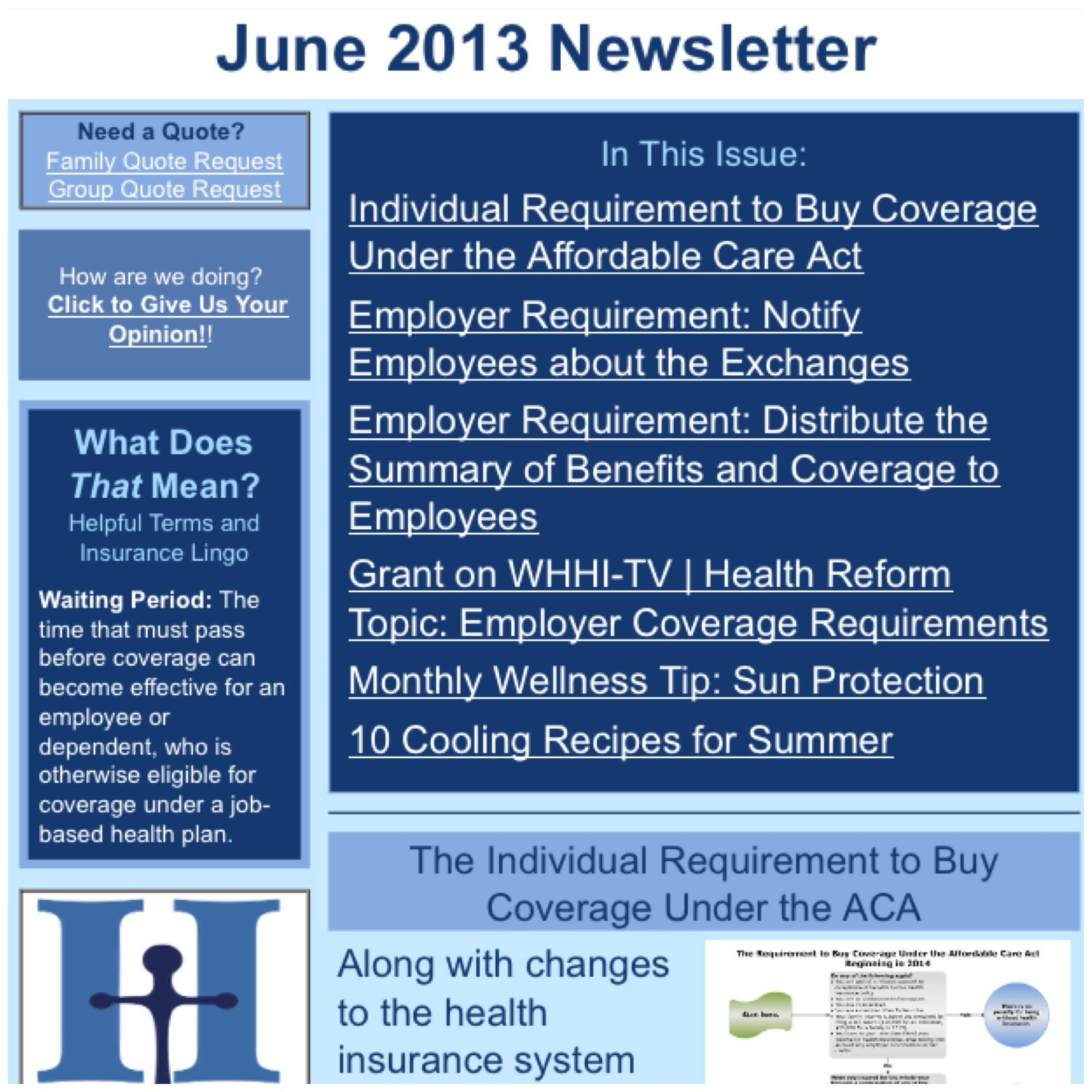 June 2013 Newsletter In This Issue Individual Requirement To