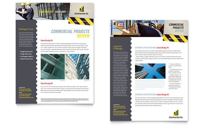 Industrial And Commercial Construction Datasheet Template Design