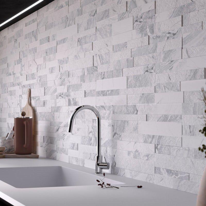 Bolsena White Split Face Stone Effect Matt Wall Tile 150mm X 610mm