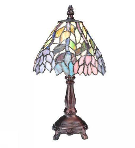 Meyda Tiffany 27294 Wisteria Mini Lamp Stained By Meyda Tiffany 142 20 27294 Features Mini Stained Glass Table Lamps Mini Table Lamps Tiffany Style Lamp