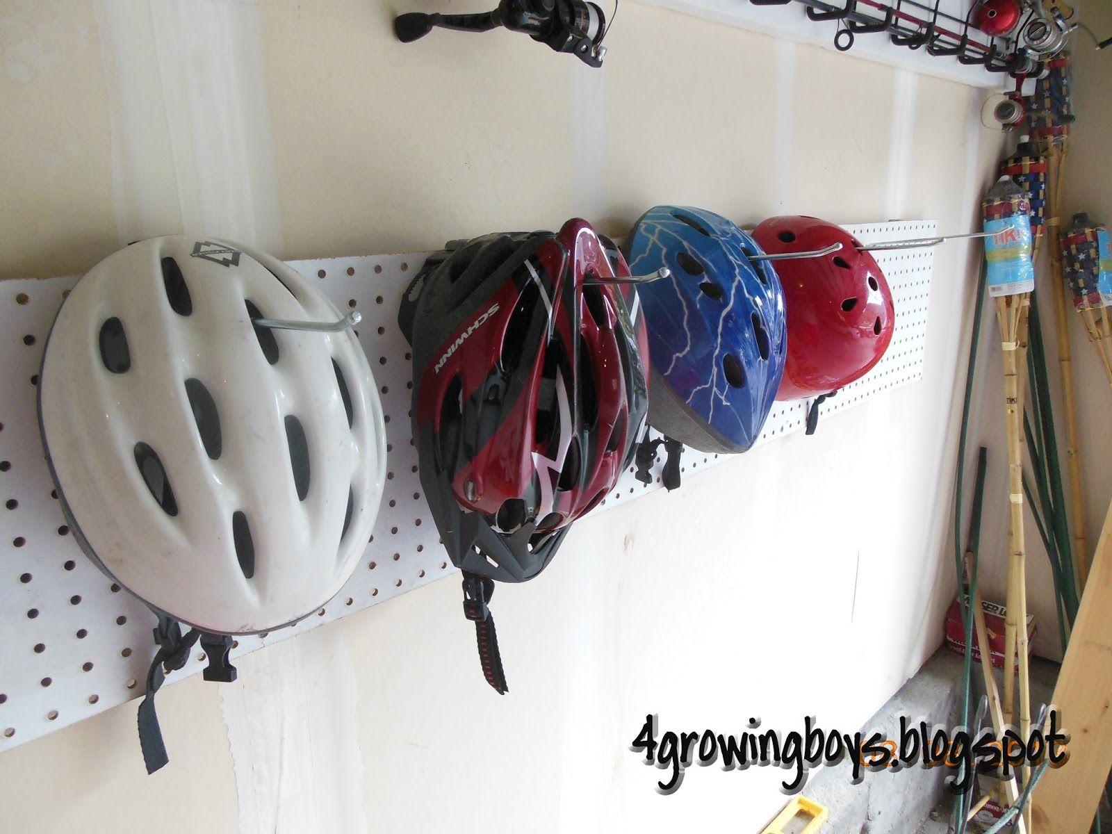 4 Growing Boys: Bike Helmet Organizing Rack Made From Pegboard