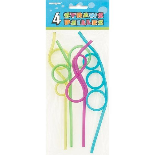Plastic Crazy Drinking Straws, 4ct