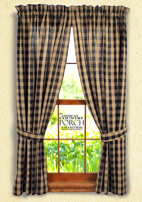 Black Teadyed Buffalo Check Tieback Curtain Panels Panel